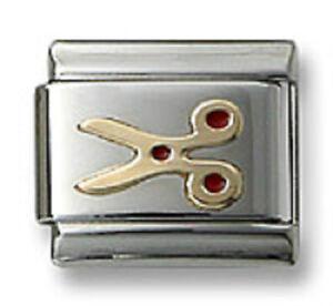 18k-Gold-Italian-Charm-Enamel-Scissors-9mm-Modular-Link-Bracelet-Free-Shipping