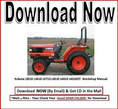 Kubota L3010 L3410 L3710 L4310 L4610 L4010dt Tractor Service Maint Manual Cd