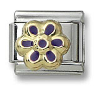 Authentic-18k-Gold-Italian-Charm-Enamel-Purple-Flower-9mm-Modular-Link-Bracelet