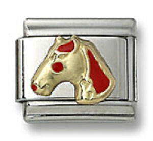 Italian-Charm-Horse-Red-Enamel-9mm-Stainless-Steel-Modular-Link-Free-Shipping
