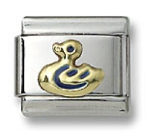 New-Authentic18k-Gold-Italian-Charm-Blue-Enamel-Duck-9mm-Modular-Link-Bracelet