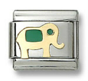 Authentic-Italian-Charm-Elephant-18k-Gold-Green-Enamel-9mm-Modular-Link-Bracelet