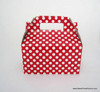 RED WHITE POLKA Party Supplies BOXES Birthday Decoration GABLE Loots x12 DOTS NW, used for sale  Pomona