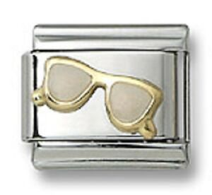 Authentic-18k-Gold-Italian-Charm-Enamel-Sunglasses-9mm-Link-Bracelet-Xmas-Gift