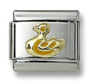 Authentic18k-Gold-Italian-Charm-Yellow-Enamel-Duck-9mm-Modular-Link-Bracelet