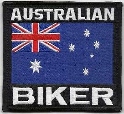 AUSTRALIAN  BIKER FLAG EMBROIDERED IRON ON VEST - JACKET PATCH
