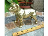 "VERY HEAVY SOLID BRASS BULLDOG - 7"" LONG EXCELLENT CONDITION"