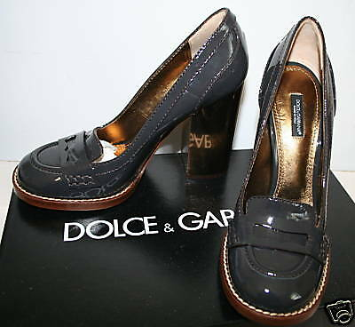 DOLCE & GABBANA Patent Leather Loafer Heels 38.5 NIB