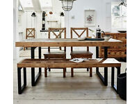 Standford Industrial Reclaimed Wood Extending Dining Table - New (box opened)