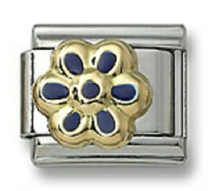 Authentic-18k-Gold-Italian-Charm-Enamel-Blue-Flower-9mm-Modular-Link-Bracelet