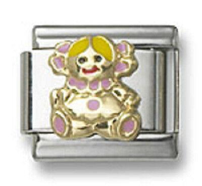 18K Italian Charm Pink Enamel Baby Girl 9 mm Modular Link Bracelet Free Shipping