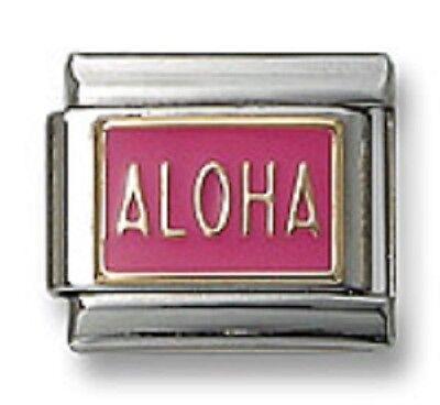 Italian Charm ALOHA 18K Gold Pink Enamel 9 mm Stainless Steel Modular Link Gifts
