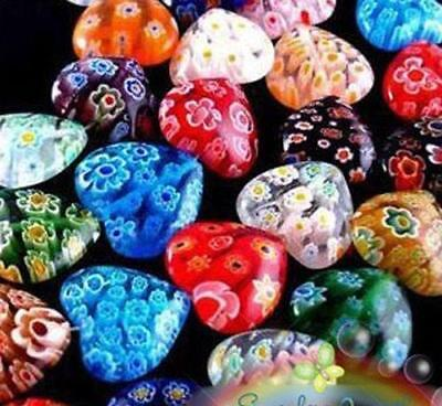8mm Millefiori Glass - 100pc 8mm Shining Heart Millefiori Glass Crafts Bead Colorful Spacer Beads Decor