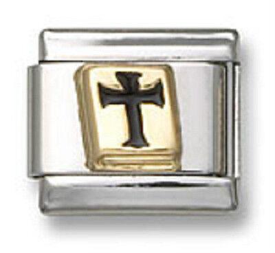 - Bible Italian Charm Link Enamel Religious Cross Stainless Steel 9 mm Bracelet