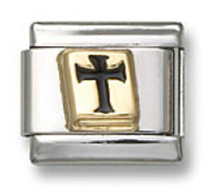 Authentic-18k-Gold-Italian-Charm-Enamel-Religious-Bible-Cross-9mm-Link-Bracelet