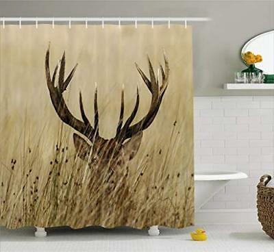 Ambesonne Antler Decor Shower Curtain by, Whitetail Deer Faw