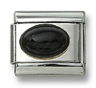18K Gold Italian Charm Black Onyx Stone Oval Stainless Steel 9 mm Modular Link
