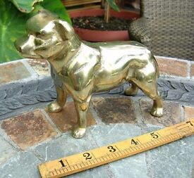 """VERY HEAVY SOLID BRASS BULLDOG - 7"""" LONG EXCELLENT CONDITION"""