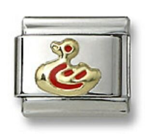 New-Authentic18k-Gold-Italian-Charm-Red-Enamel-Duck-9mm-Modular-Link-Bracelet