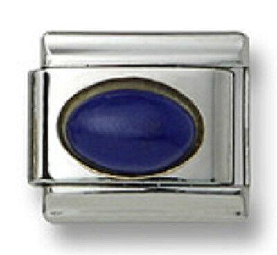 Italian Charm Natural Blue Lapis Stone Oval Stainless Steel 9 mm Link Bracelet