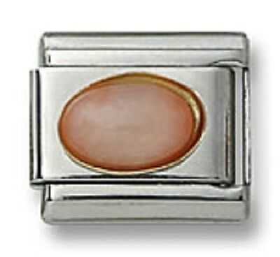 Italian Charm Pink Coral Stone Oval 9 mm Stainless Steel Modular Link Bracelet