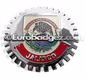 1- NEW Chrome Front Grill Badge Mexican Flag Spanish MEXICO MEDALLION JALISCO