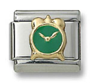 New-18k-Gold-Italian-Charm-Green-Enamel-Alarm-Clock-9mm-Bracelet-Modular-Link