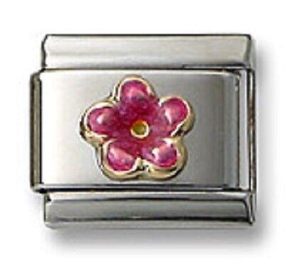 18K Italian Charm Hawaiian Flower Pink Enamel 9 mm Stainless Steel Modular Link