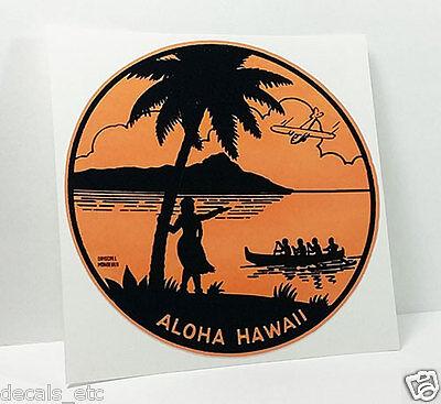 ALOHA HAWAII Vintage Style Travel Decal, Vinyl Sticker, Luggage Label