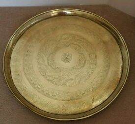 Large Vintage Brass Tray Depicting Egyptian Hieroglyphics