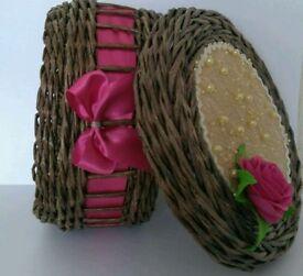 Handmade paper wicker round basket