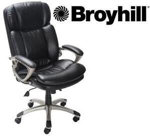 NEW* BROYHILL EXECUTIVE CHAIR BONDED LEATHER - BLACK - HOLDS UP TO 350 LBS - BIG  TALL 104904501