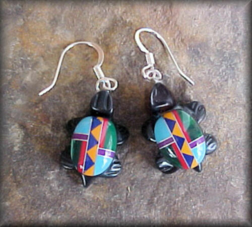 Multi Color Inlay Composite TURTLE Southwest Style Earrings #0301A