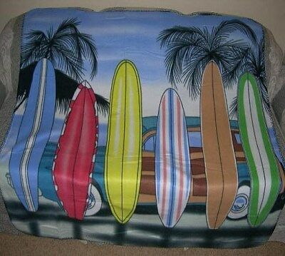 Palm Tree Scene (New Surfboard Beach Palm Tree Scene Fleece Blanket Surfer Gift Surf Board)