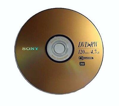 5 SONY Blank DVD+RW 4x Branded Logo 4.7GB Rewritable DVD Disc in Paper Sleeves