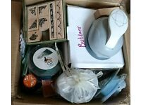 Box of craft items stamps, buttons, beads etc