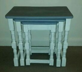Set of 3 nest of tables, shabby chic refurbished