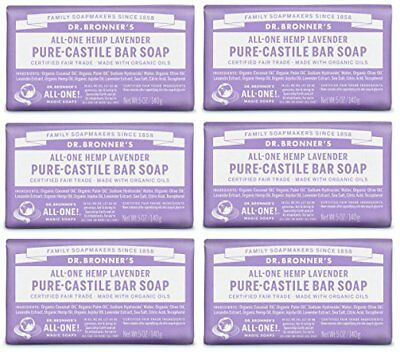 Bar Soap Organic Vegan Multi Use Lavender Pure Castile Dr Bronners Pack Of 6
