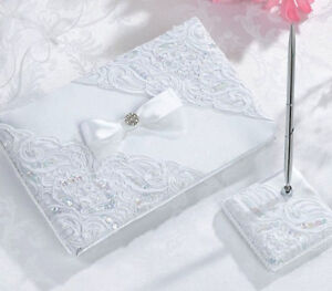 White Sequin Lace Guest Book with Pen Set