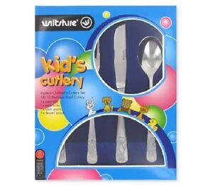 Wiltshire Stainless Steel 4 Piece Children's Cutlery Set - Puppy Design - 18/10