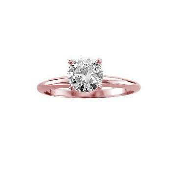 Genuine Diamond Solitaire Wedding Ring 1/2Ct 14Kt Rose Gold Prong Set Size 4-12