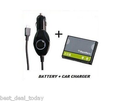 Oem Battery Car Charger - OEM Blackberry D-X1 Battery + Car Charger For Bold 9650