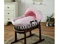 Pink Waffle with Dark Wicker moses basket & Free Deluxe Rocking stand. Walnut brand new.
