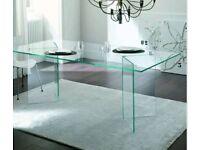 Klarity Italian designer Heavy glass dining table