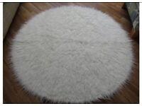 White Mongolian Circular Rug