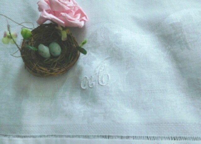 ANTIQUE FRENCH Fleur de Lis & Ivy DAMASK * MONOGRAM A * EURO LINEN BATH TOWEL