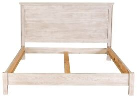 White wash double bed frame