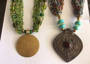 2 x Necklaces  1 Green & 1 Multi Colors.  From the French Quarter Ferryden Park Port Adelaide Area Preview