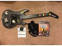 PS2 Wireless Guitar & Dongle & Guitar Hero 3 Legends Of Rock Kramer Guitar