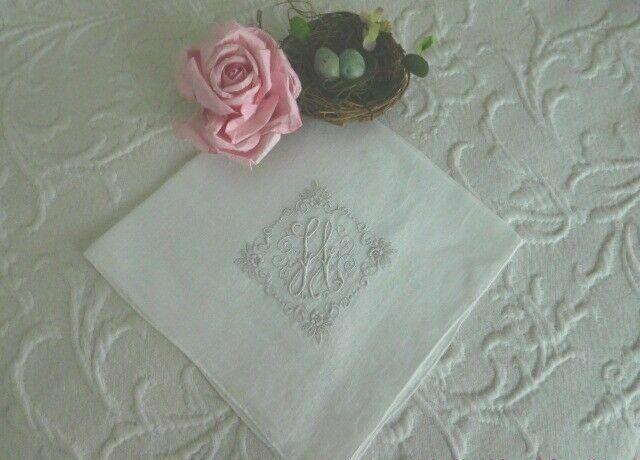 GORGEOUS Antique MADEIRA Embroidered MONOGRAM * H * Vintage BRIDAL Wedding HANKY